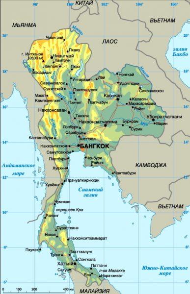 Карта Таиланда с городами