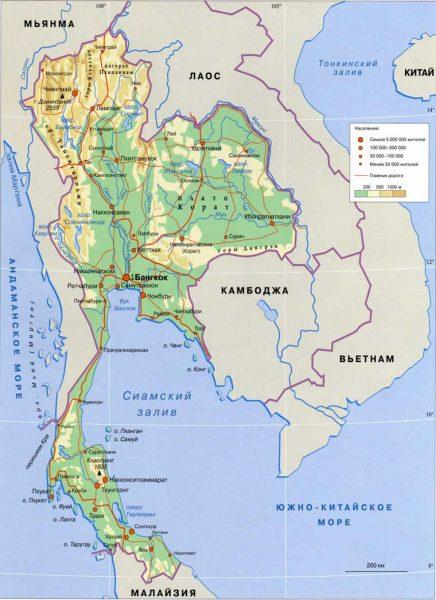 Физическая карта Таиланда