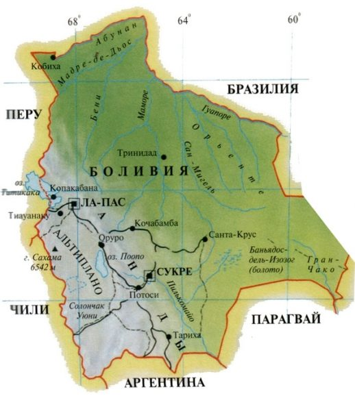 Боливия на карте