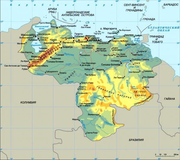 Физическая карта Венесуэлы