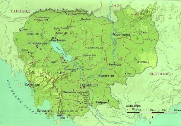 Географическая карта Камбоджи