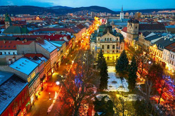 Город Кошице вечером