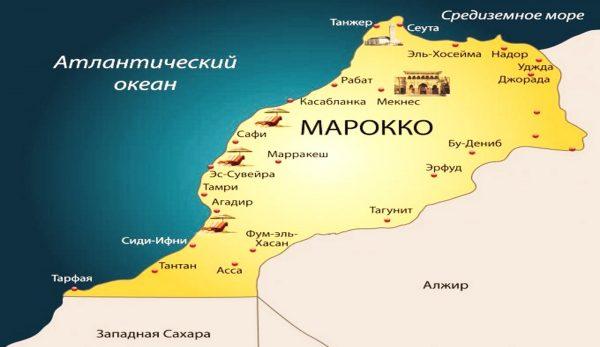 Города Марокко на карте