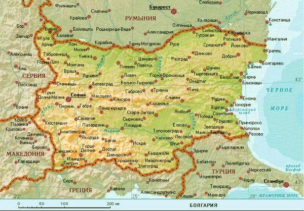 Карта Болгарии с границами