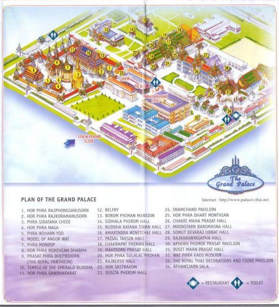 Карта Большого Дворца в Бангкоке