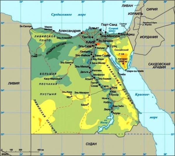 Карта расположения Египта