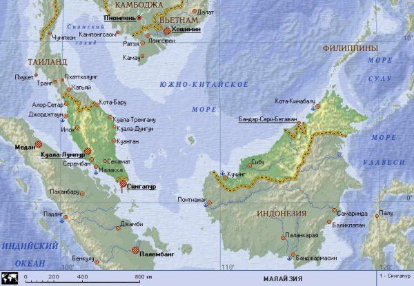 Карта Малайзии с основными городами