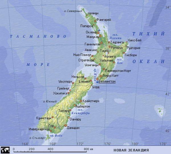Карта Новой Зеландии с основными городами