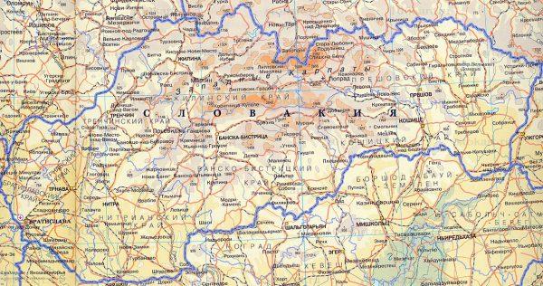 Словакия на карте