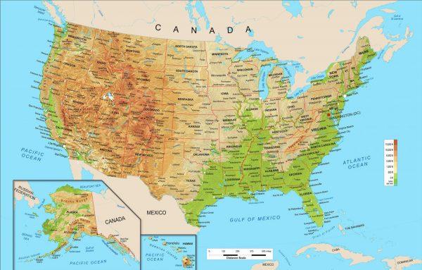 Карта США с основными городами