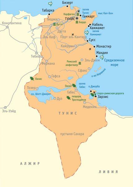Карта Туниса с основными городами