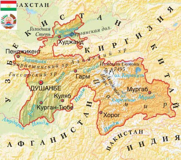 Карта туристических городов Таджикистана