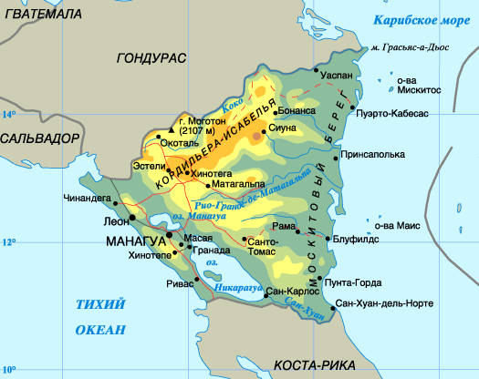 Никарагуа на карте