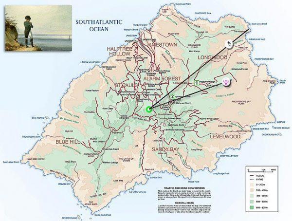 Памятные места Наполеона на карте острова
