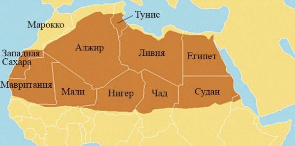 Пустыня Сахара на карте Африки