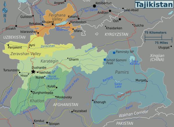 Туристические регионы Таджикистана