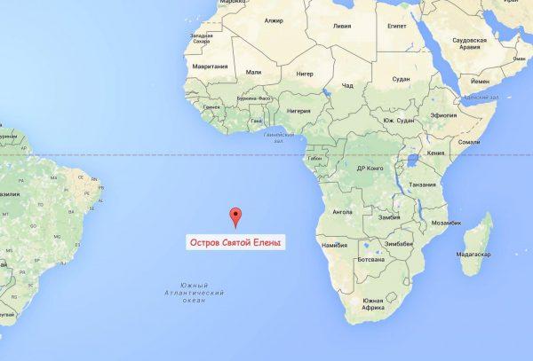 Расположение острова Св. Елены на карте