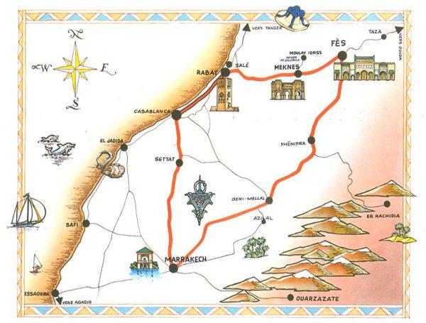 Туристическая карта Марокко