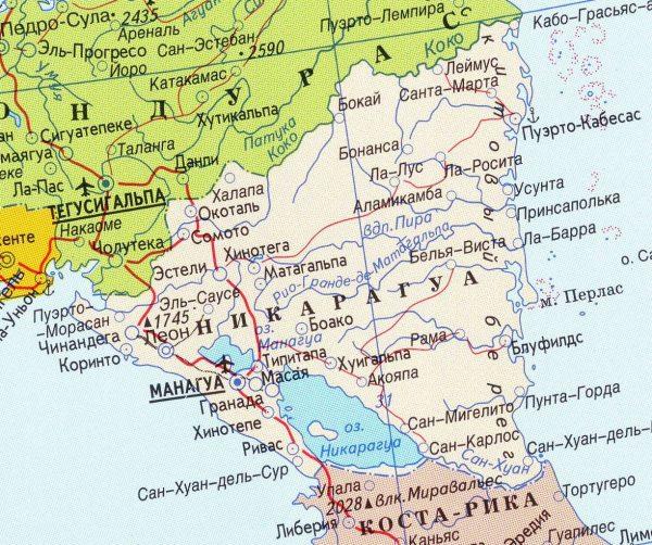 Туристическая карта Никарагуа