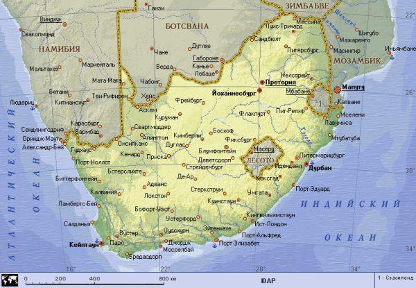 Южная Африка на карте