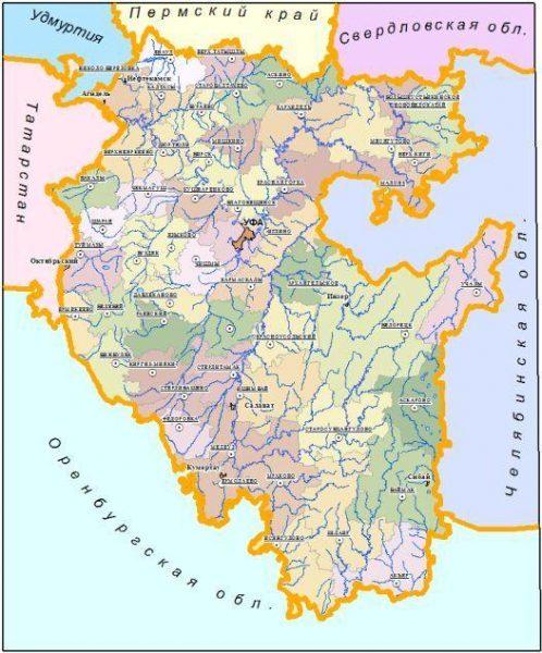 Карта Башкортостана