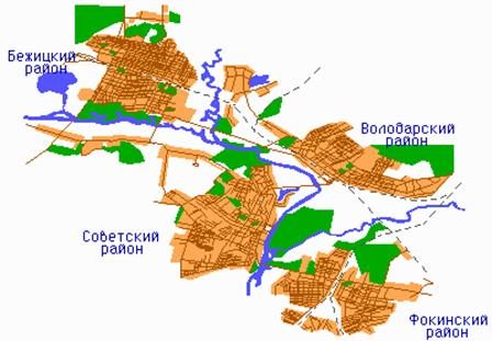 Четыре района города Брянска