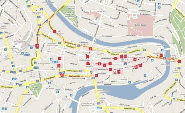 Туристическая карта Берна