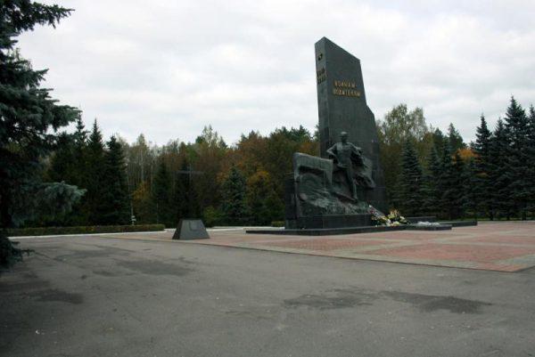 Фигура солдата на противоположной стороне от военных грузовиков