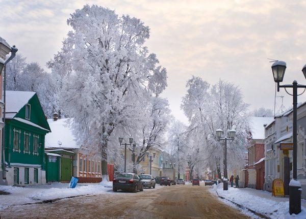 Улица Городца зимой