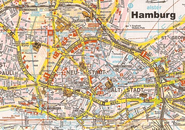 Карта исторического центра Гамбурга