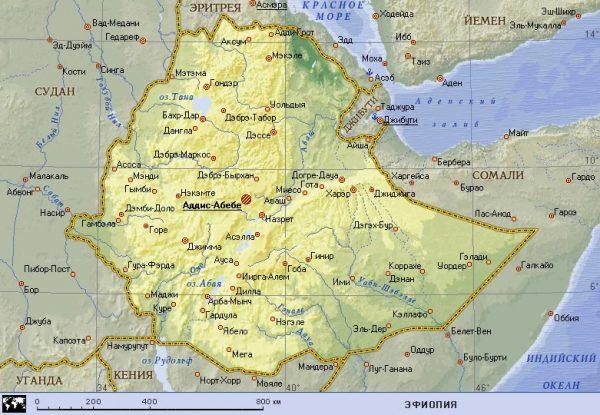 Карта Эфиопии с главными городами