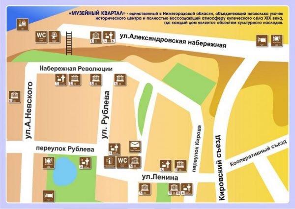 Карта Городца с достопримечательностями
