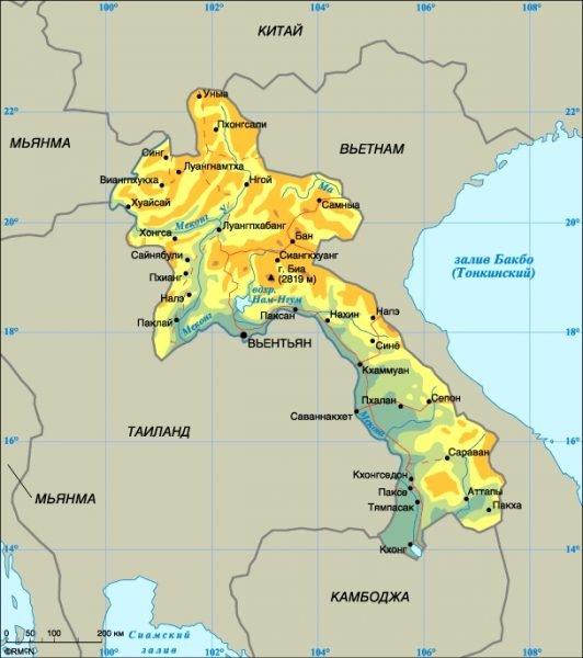 Карта Лаоса с главными городами