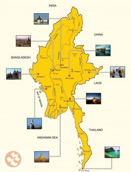 Карта Мьянмы