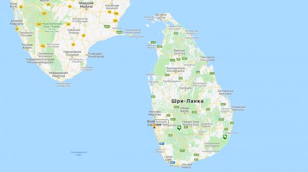 Карта Шри-Ланки с островами и городами
