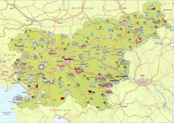 Карта Словении с достопримечательностями