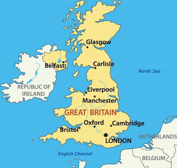 Лондон на карте Великобритании