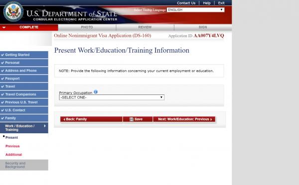 Раздел Work/Education/Training