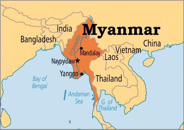 Мьянма на карте мира