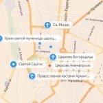 Расположение церквей на карте Гюмри