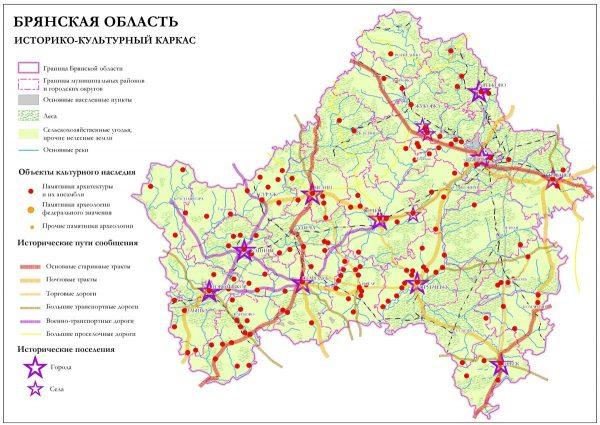 Туристическая карта Брянской области