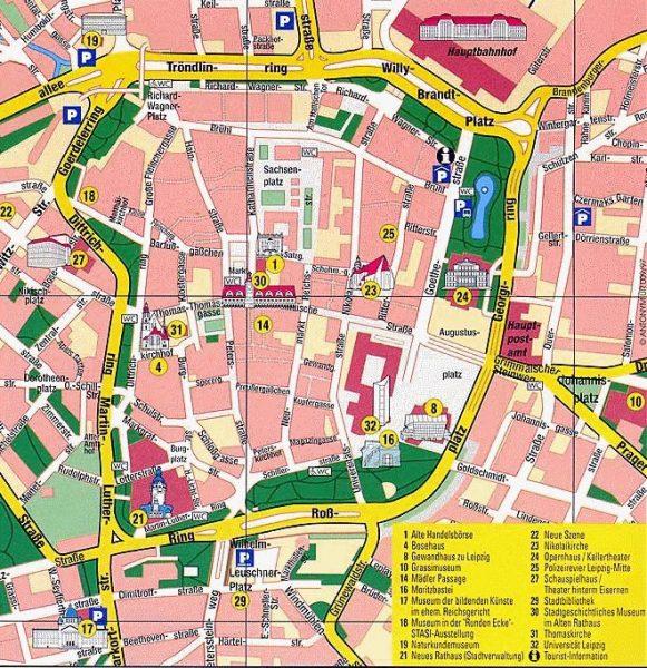 Туристическая карта Лейпцига