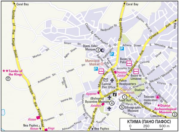 Туристическая карта Пано Пафоса