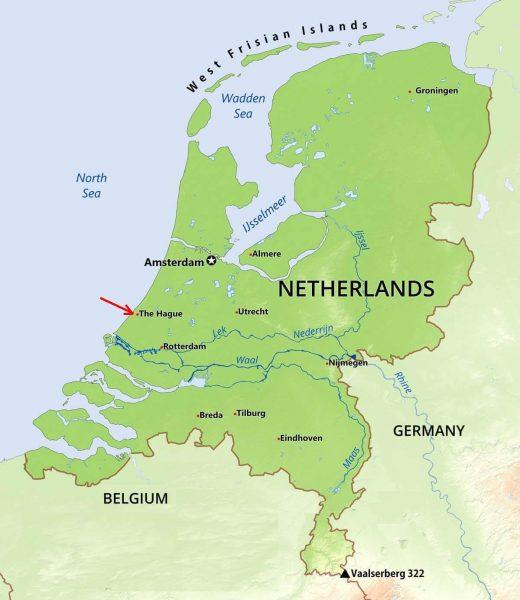 Гаага на карте Нидерландов