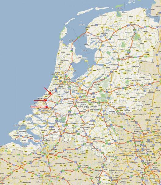 Карта автомагистралей Нидерландов