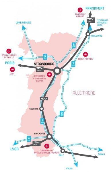 Карта автомагистралей, ведущих к Страсбургу