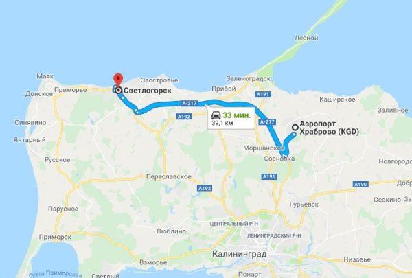 Карта Калининградской области с построенным маршрутом до Светлогорска