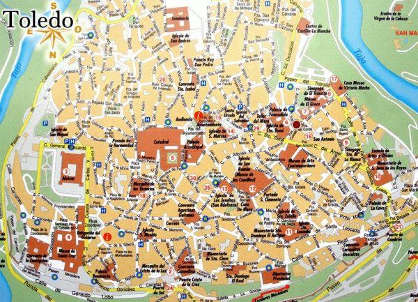 Карта Толедо с достопримечательностями