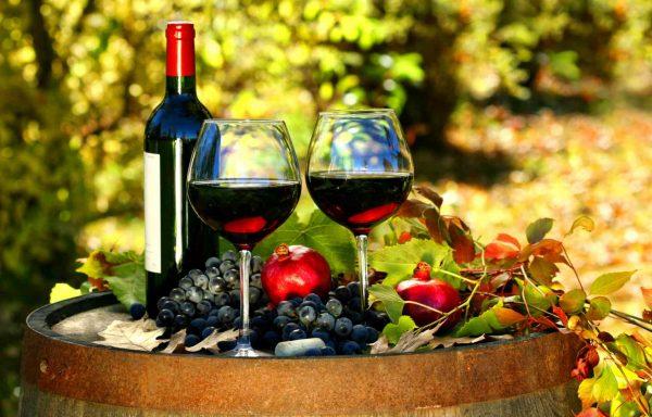 Красное молодое вино в бокалах