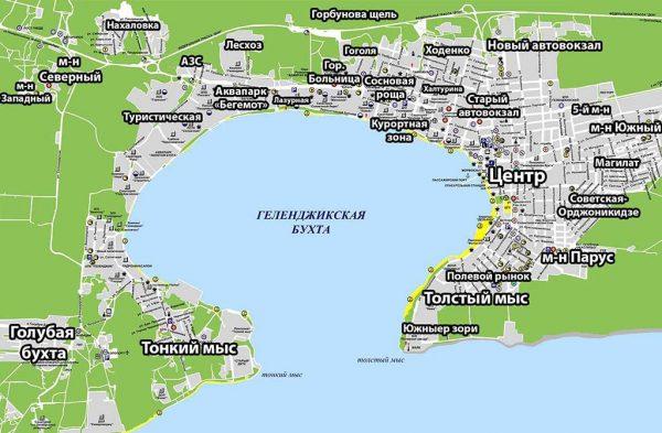 Карта районов Геленджика